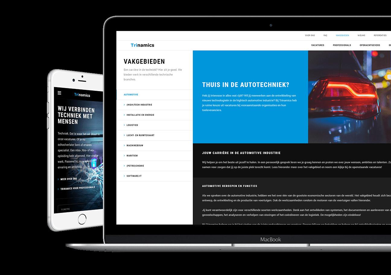 Carerix website ontwikkeling voor Trinamics uit Breda