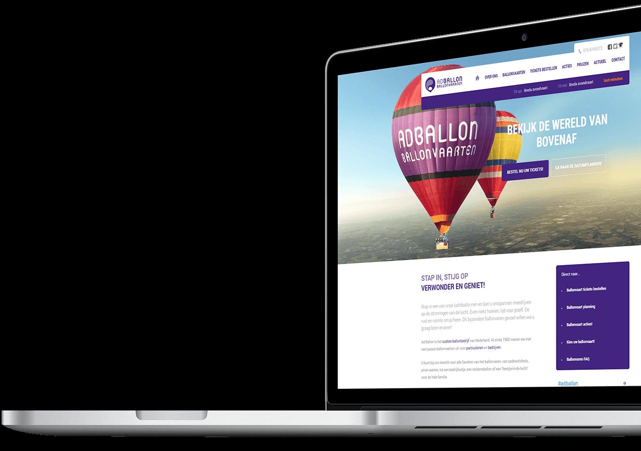 Website ontwikkeling voor Ad Ballon uit Breda