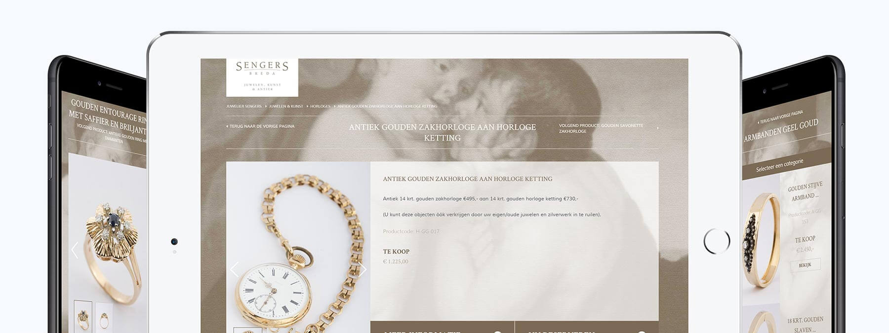 Website en webshop ontwikkeling voor Sengers Juwelen, Kunst & Antiek uit Breda