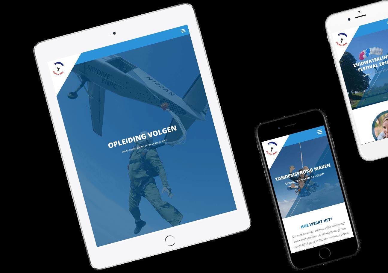 Website ontwikkeling voor Skydive ENPC uit Breda/Roosendaal