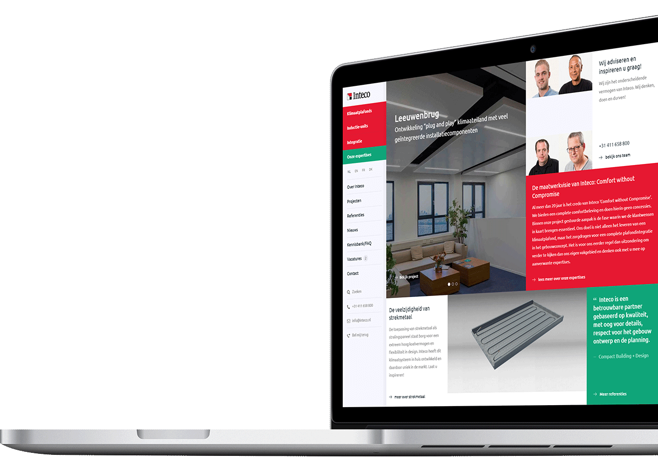 Website ontwikkeling voor Inteco B.V. uit Boxtel