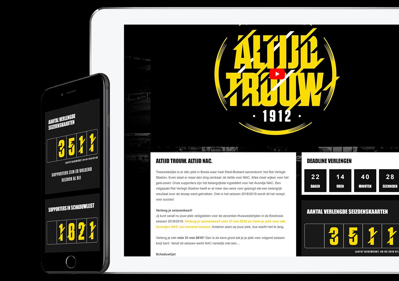 Website ontwikkeling voor NAC Breda - Altijd NAC Campagne 2018